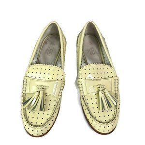 Coach Yellow Patent Leather Loafer Tassel Flats